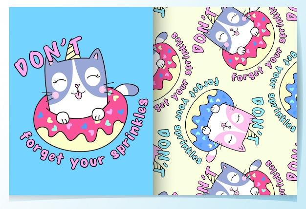 Conjunto de patrón lindo gato dibujado a mano Vector Premium