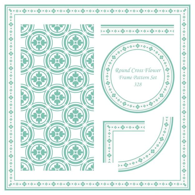 Conjunto de patrón de marco vintage de flor de cruz de círculo redondo Vector Premium