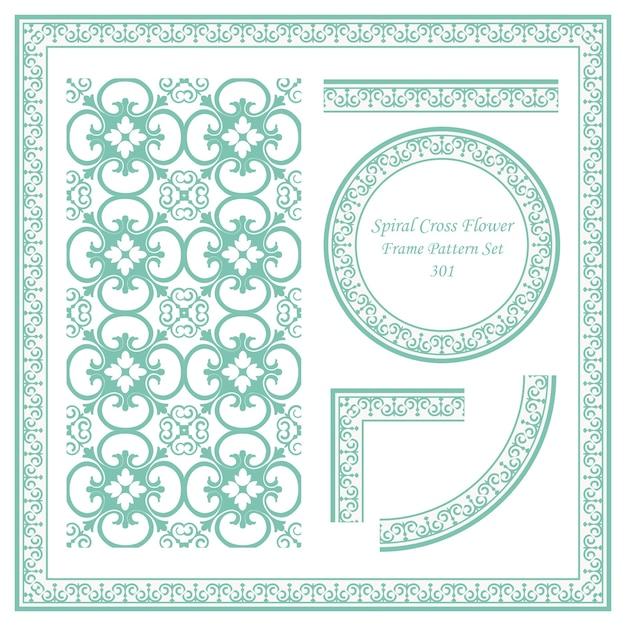Conjunto de patrón de marco vintage de flor de cruz espiral Vector Premium