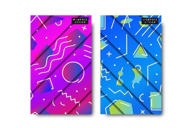 Conjunto de patrón de memphis y diseño de corte de papel con formas geométricas de degradado abstracto Vector Premium