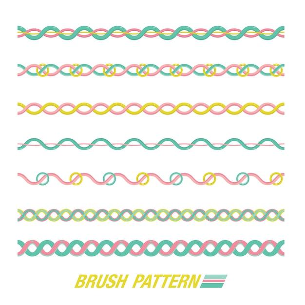 Conjunto de patrón de pincel. patrón de línea. Vector Premium