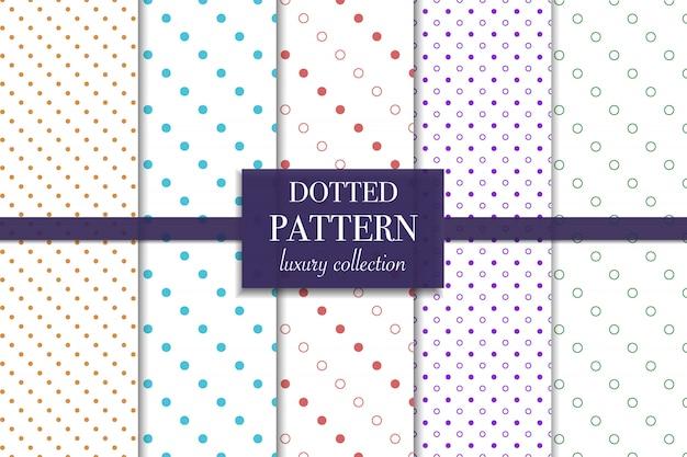 Conjunto de patrón punteado de colores. estilo de lunares. Vector Premium