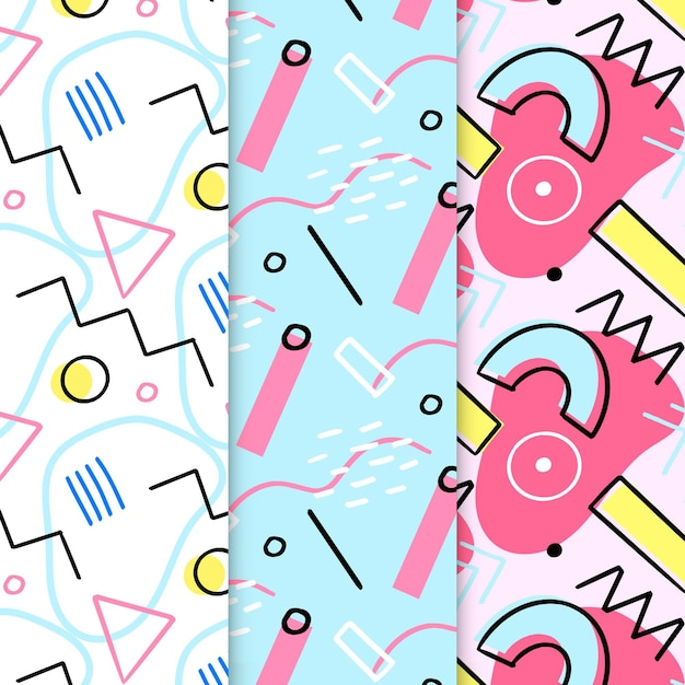 Conjunto de patrones abstractos dibujados a mano de memphis vector gratuito