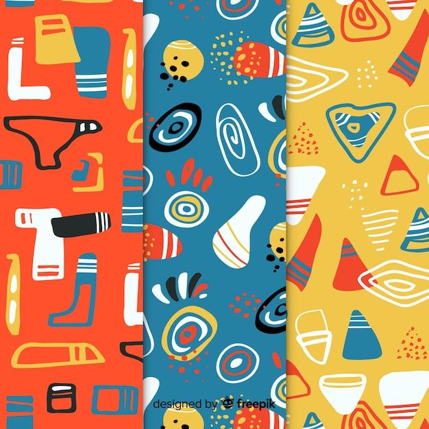 Conjunto de patrones abstractos dibujados a mano vector gratuito