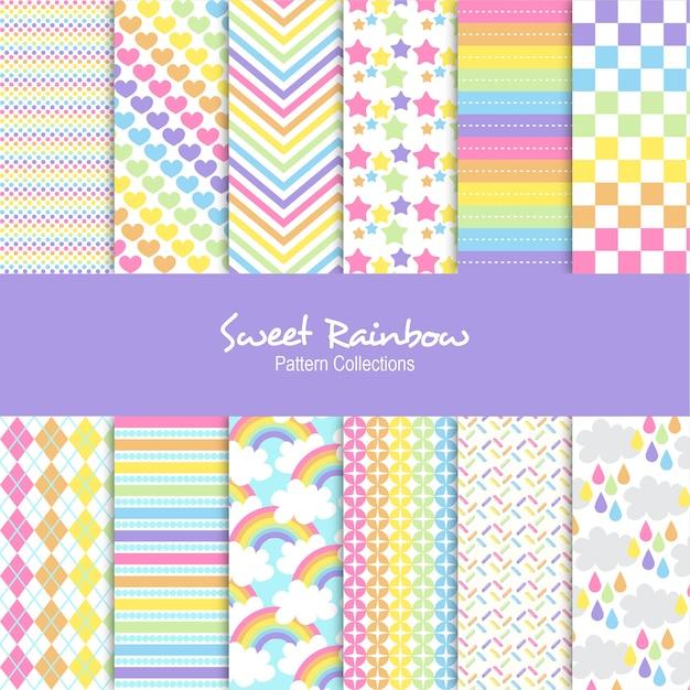 Conjunto de patrones de arco iris dulce Vector Premium