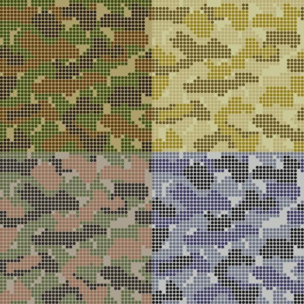Conjunto de patrones de camuflaje punteado vector gratuito
