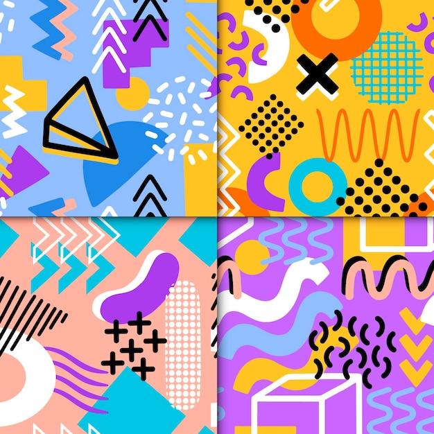Conjunto de patrones coloridos de memphis Vector Premium