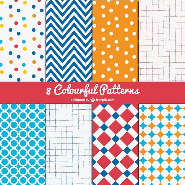 Conjunto de patrones coloridos vector gratuito