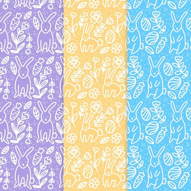 Conjunto de patrones de día de pascua dibujados a mano vector gratuito