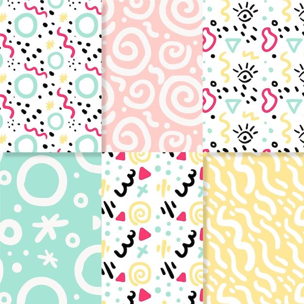 Conjunto de patrones dibujados a mano abstracta vector gratuito
