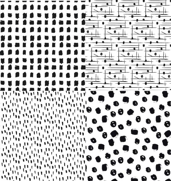 Conjunto de patrones dibujados a mano sin costura con diseños ...