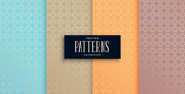 Conjunto de patrones de estilo étnico artístico de cuatro vector gratuito
