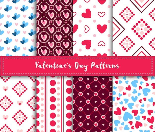 Conjunto de patrones sin fisuras abstractas de san valentín - corazones de color rosa y azul de dibujos animados en blanco, rayas, formas geométricas Vector Premium