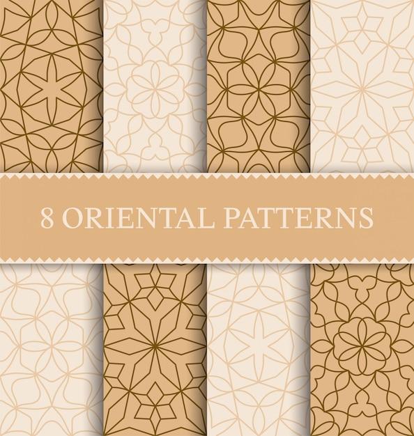 Conjunto de patrones sin fisuras árabe tradicional Vector Premium