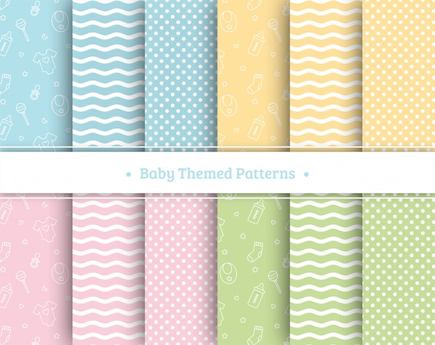 Conjunto de patrones sin fisuras de bebé en colores pastel Vector Premium