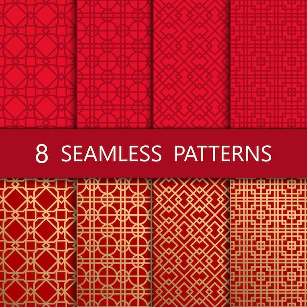 Conjunto de patrones sin fisuras chino dorado Vector Premium