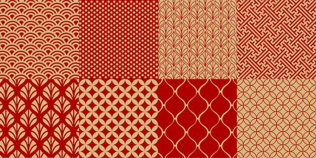 Conjunto de patrones sin fisuras chinos Vector Premium