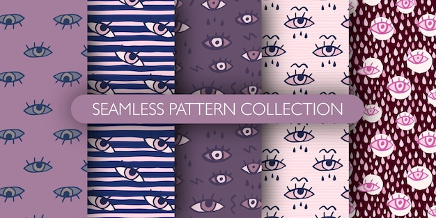 Conjunto de patrones sin fisuras dibujados a mano con ojos y gotas. Vector Premium
