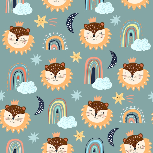 Conjunto de patrones sin fisuras con elementos infantiles, diferentes, leones, arcoiris y nubes, fondos blancos Vector Premium