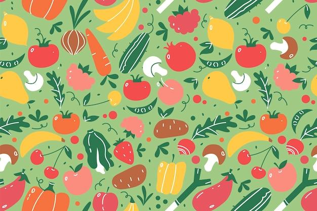 Conjunto de patrones sin fisuras de frutas. dibujado a mano doodle frutas y bayas nutrición vegana o menú de comida vegetariana sandía mango plátano y fresa. Vector Premium
