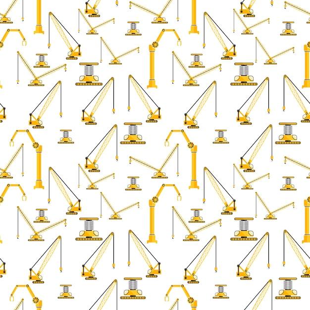 Conjunto de patrones sin fisuras de grúa amarilla y máquina ...