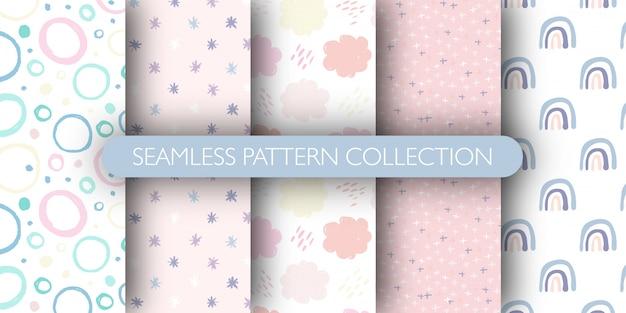 Conjunto de patrones sin fisuras lindo para bebé. arco iris, círculo, nube, colección de patrones de estrellas. Vector Premium