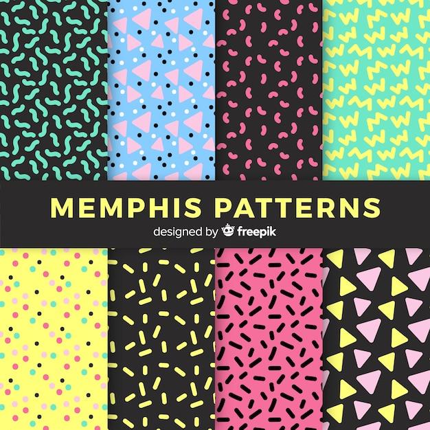Conjunto de patrones sin fisuras de memphis vector gratuito