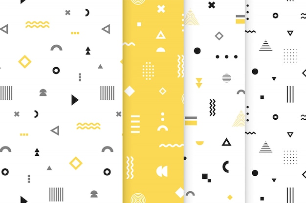 Conjunto de patrones sin fisuras de memphis. Vector Premium