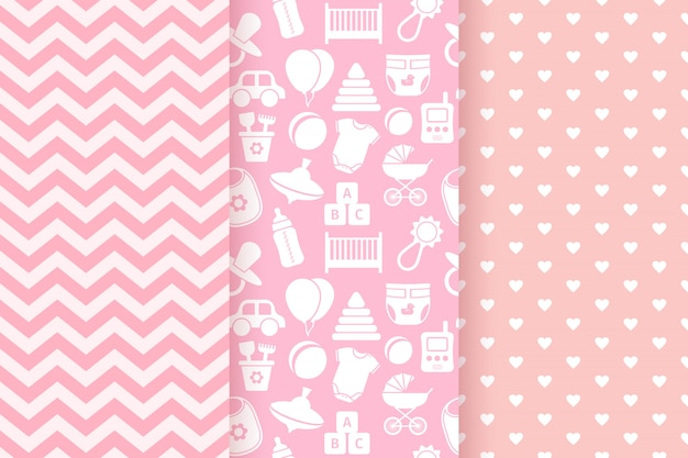 Conjunto de patrones sin fisuras pastel rosa Vector Premium