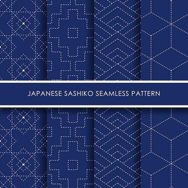Conjunto de patrones sin fisuras sashiko japonés Vector Premium