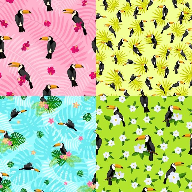 Conjunto de patrones sin fisuras de tucán. estilo de dibujos animados plana Vector Premium