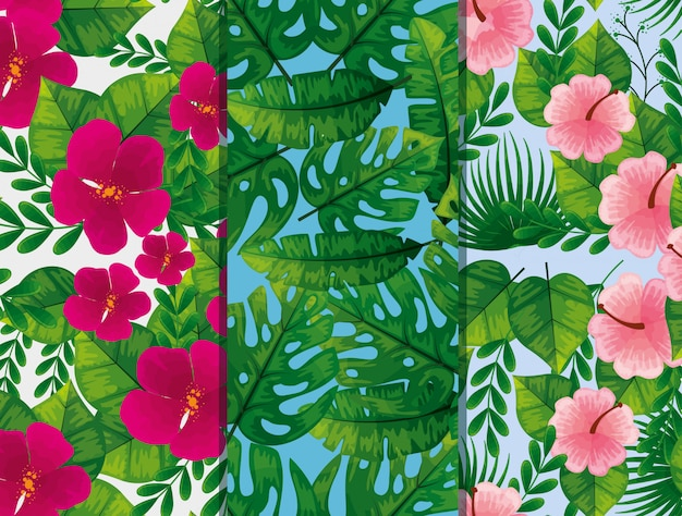 Conjunto de patrones de flores y hojas vector gratuito