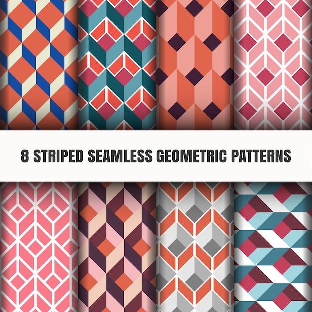 Conjunto de patrones geométricos sin costura rayados vector gratuito