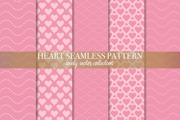 Conjunto de patrones geométricos sin costura rosa Vector Premium