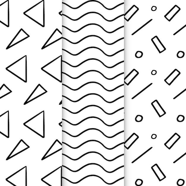 Conjunto de patrones geométricos dibujados a mano abstracto Vector Premium