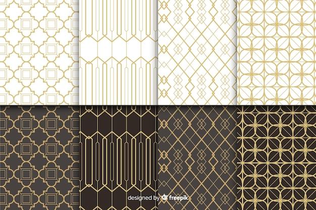 Conjunto de patrones geométricos de lujo vector gratuito