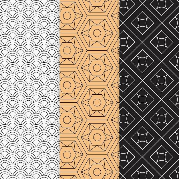 Conjunto de patrones geométricos mínimos coloridos vector gratuito