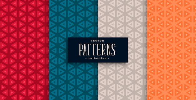 Conjunto de patrones geométricos triangulares y cuatro colores. vector gratuito