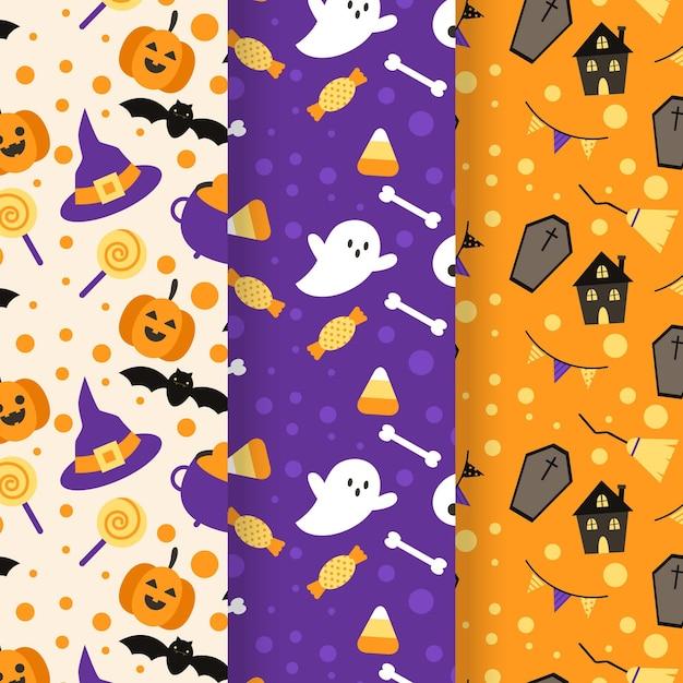 Conjunto de patrones de halloween vector gratuito
