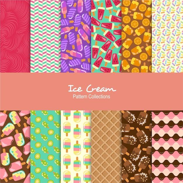 Conjunto de patrones de helados Vector Premium