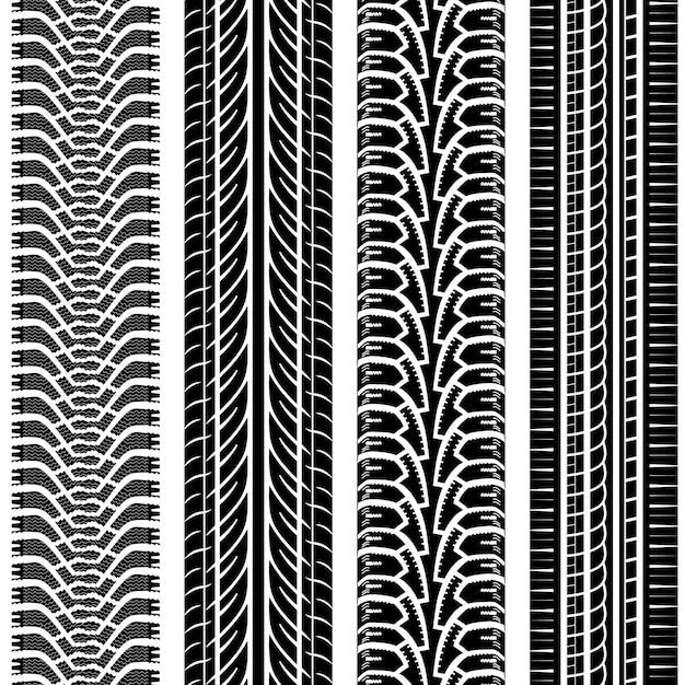 Conjunto de patrones de huellas de neumáticos Vector Premium