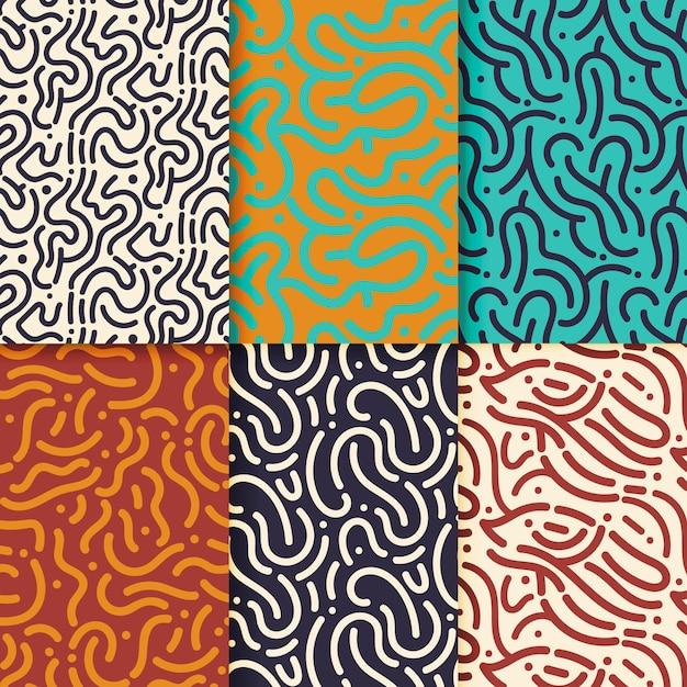 Conjunto de patrones de líneas redondeadas vector gratuito