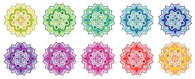 Conjunto de patrones de mandala en muchos colores. vector gratuito
