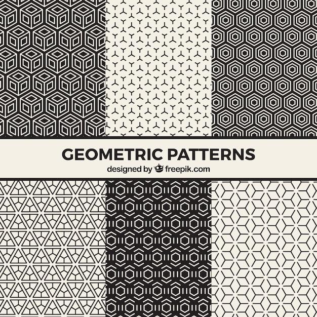 Conjunto de patrones psicodélicos en blanco y negro | Descargar ...
