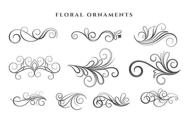 Conjunto de patrones de remolinos de decoración de adornos florales vector gratuito