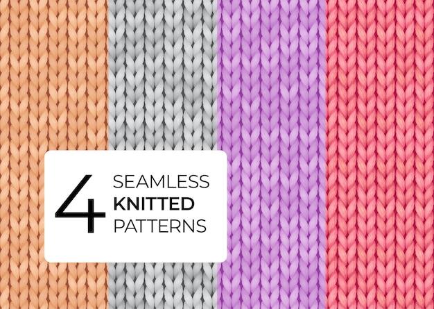 Un conjunto de patrones tejidos sin costuras en colores pastel. Vector Premium