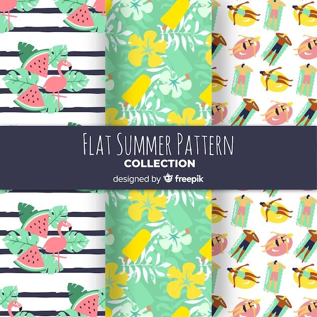 Conjunto de patrones de verano de diseño plano vector gratuito