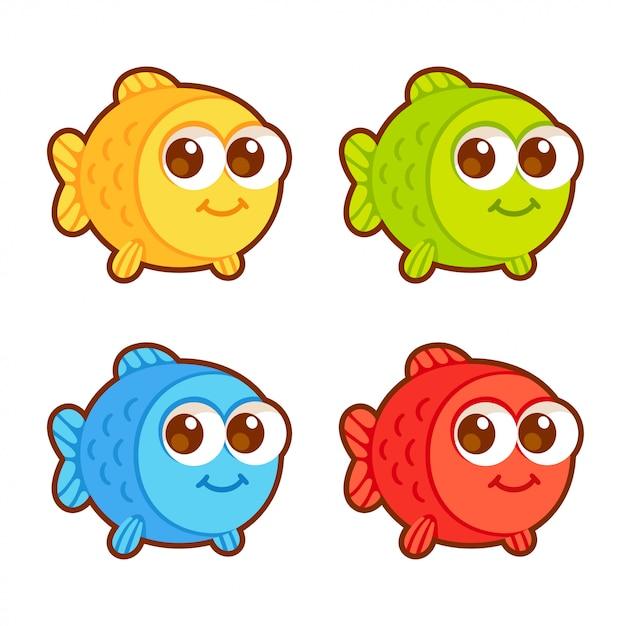 Conjunto de peces de dibujos animados lindo Vector Premium