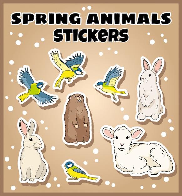 Conjunto de pegatinas de animales de primavera. etiqueta de colección de garabatos. Vector Premium