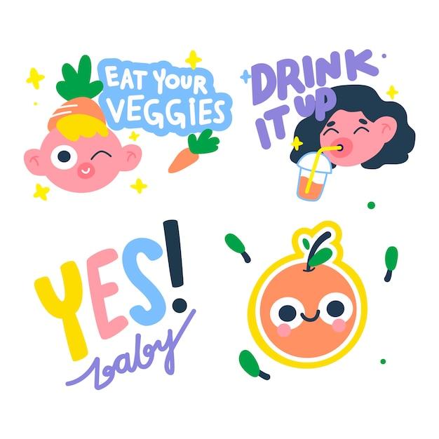 Conjunto de pegatinas divertidas dibujadas a mano coloridas vector gratuito